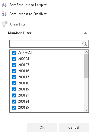 show a list of values to filters